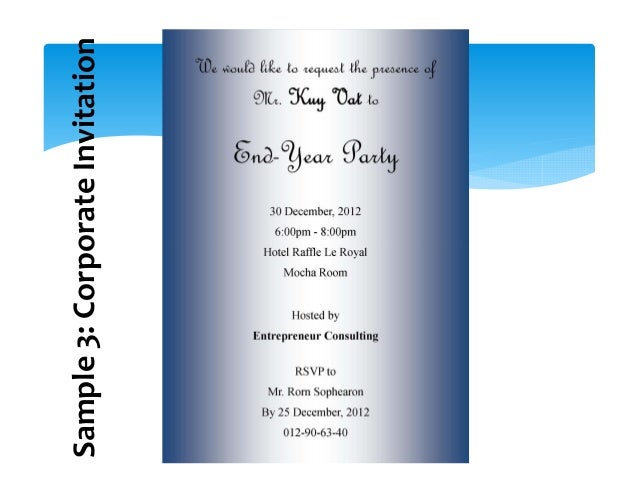 Writing e invitations sample 3 corporate invitation stopboris Images