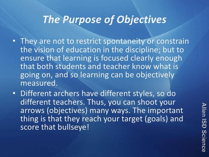 educational goals objectives essay Writing goals and objectives  educational objectives  assessment: a traditional essay could be used 2 instructional goal:.