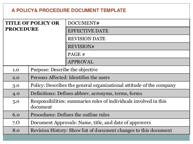 Writing effective policies procedures2 for Policy and procedure document template