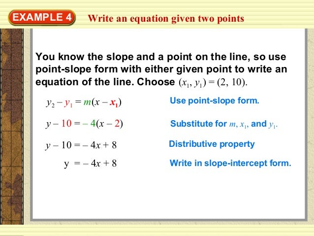 writing an equation of a line