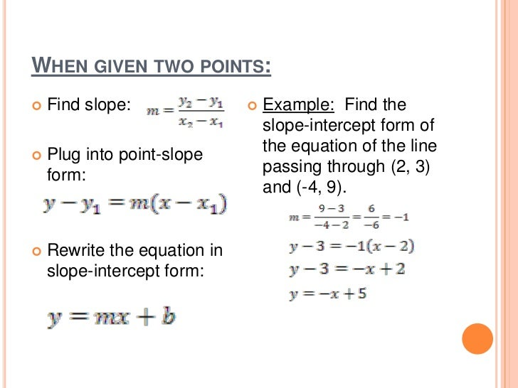 writing an equation of a line For a complete lesson on writing the equation of a line, go to http://www mathhelpcom - 1000+ online math lessons featuring a personal math teacher inside every lesson in this lesson, students learn to write the equation of a line in slope-intercept form using a table of ordered pairs the first step is to.