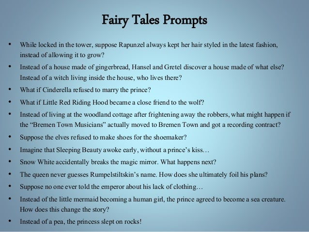 fairy tales essay example Fairy tales offer children a fantasy world of magic, romance and adventure where pumpkins are transformed into crystal coaches and a kiss from a handsome prince can bring a young girl back.