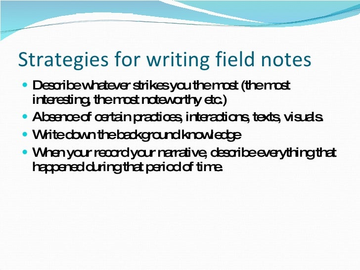 writing field notes