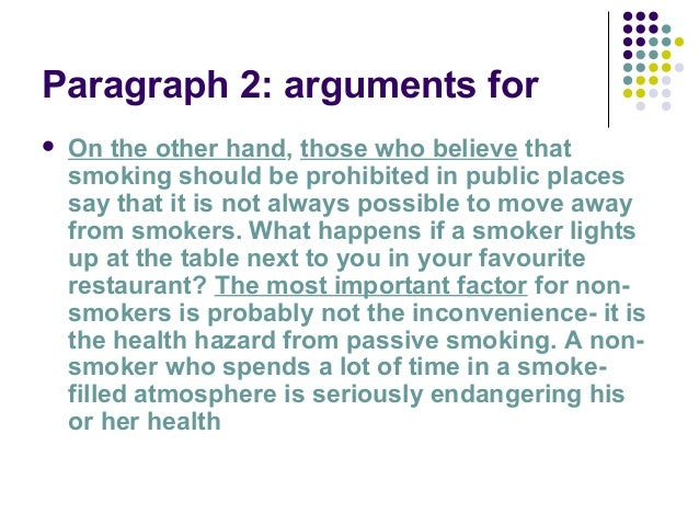 argumentative essay smoking ban in public places This ban smoking in public places essay shows you how to smoking should be banned in public places the argument against a ban on smoking in public places is.