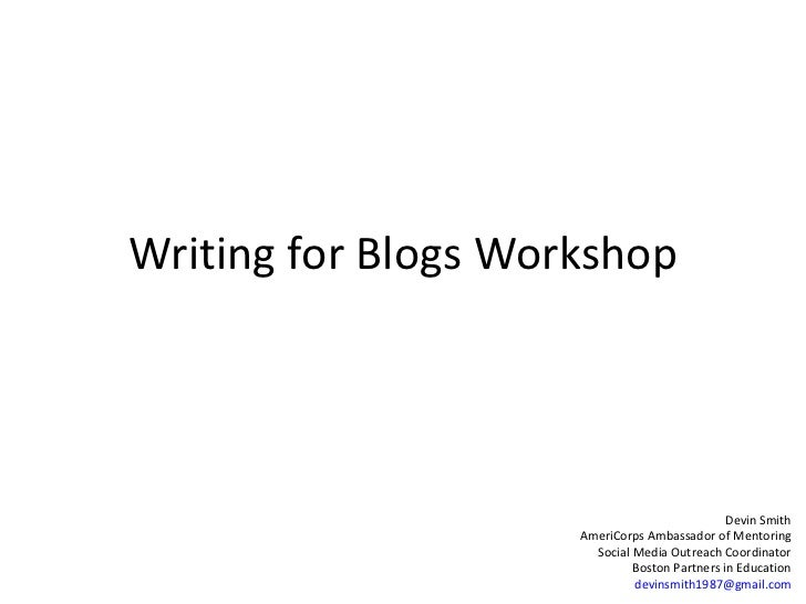 Writing for Blogs Workshop