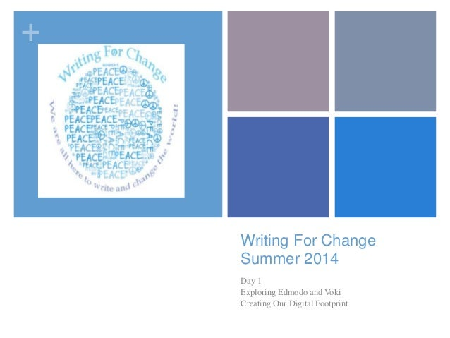 + Writing For Change Summer 2014 Day 1 Exploring Edmodo and Voki Creating Our Digital Footprint