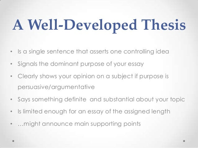 Writing For History The Effective Thesis Statement