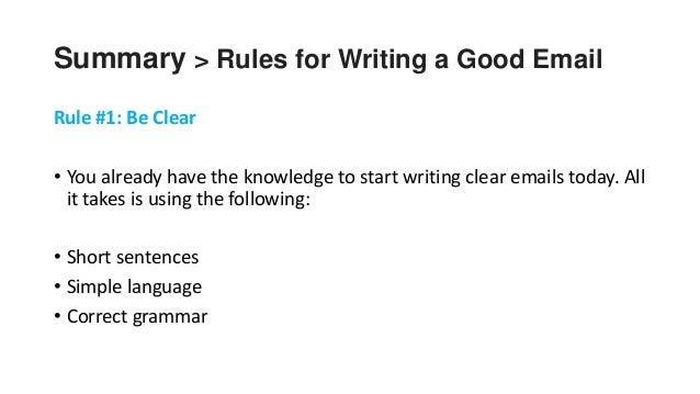 Rules: How to write a summary