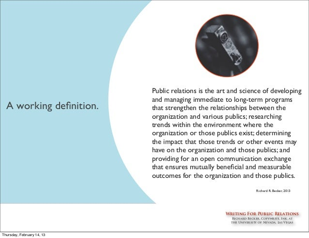 organization-public relationships essay Organization-public relationships introduction an organization has both internal stakeholders and external stakeholders inasmuch as the organization's survival depends on consumer perceptions and these consumer perceptions are influenced mostly by the media, two of the most important external stakeholders for the organization.