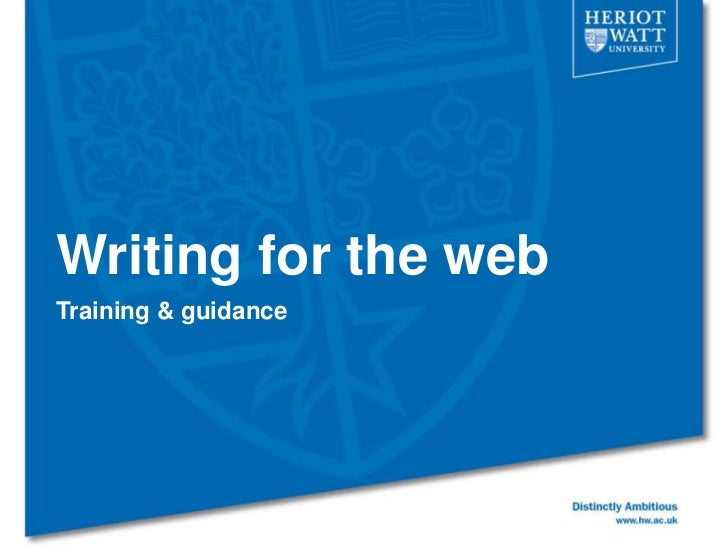 Writing for the webTraining & guidance