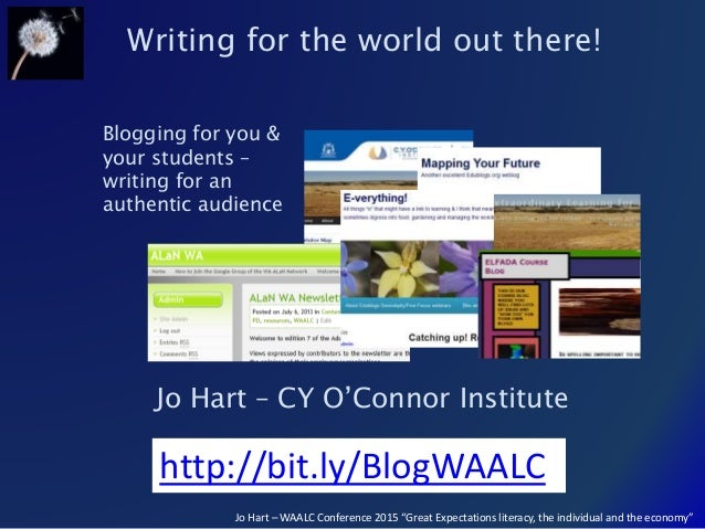 "Jo Hart – WAALC Conference 2015 ""Great Expectations literacy, the individual and the economy"" Writing for the world out th..."