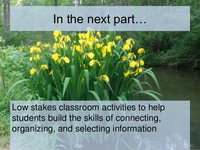 In the next part… Low stakes classroom activities to help students build the skills of connecting, organizing, and selecti...