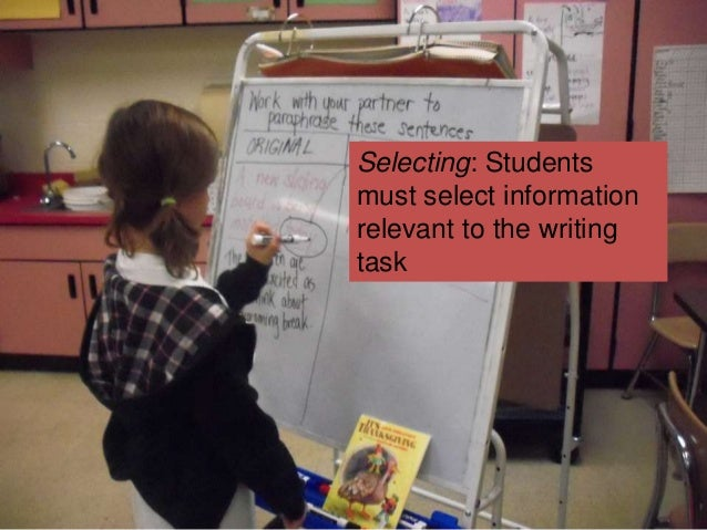 Selecting: Students must select information relevant to the writing task
