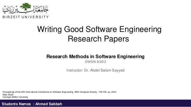 Writing good software engineering research papers mary shaw difference between essay and journal article