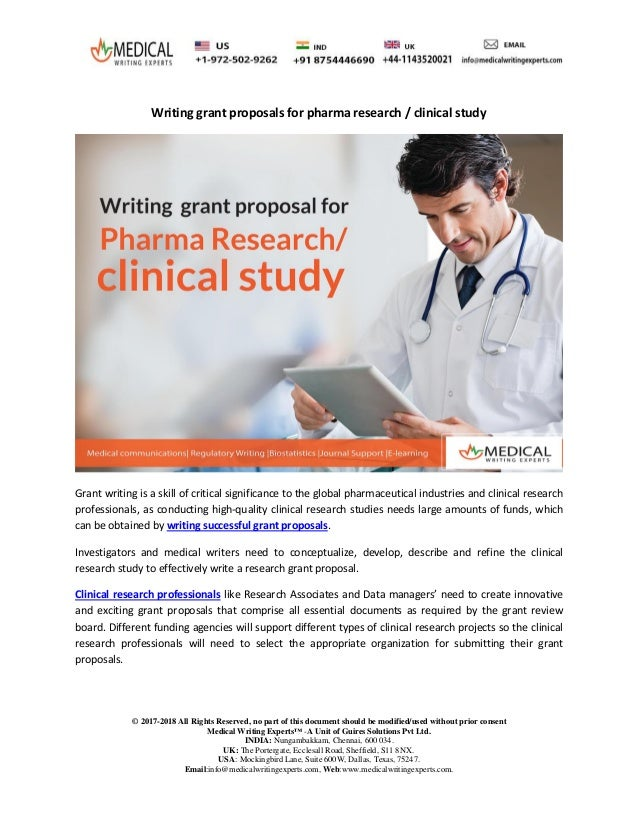 Writing Grant Proposals For Pharma Research Clinical Studymedical