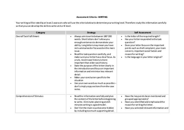 Assessment Criteria –WRITING Your writingwill be ratedbyat least2 assessorswhowill use the criteriabelowtodetermineyourwri...