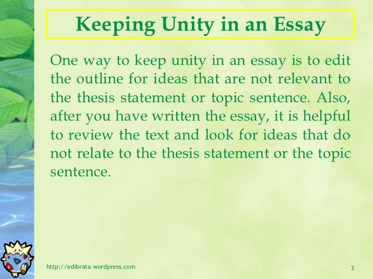 essay writing unity and coherence   3 keeping unity in an essay