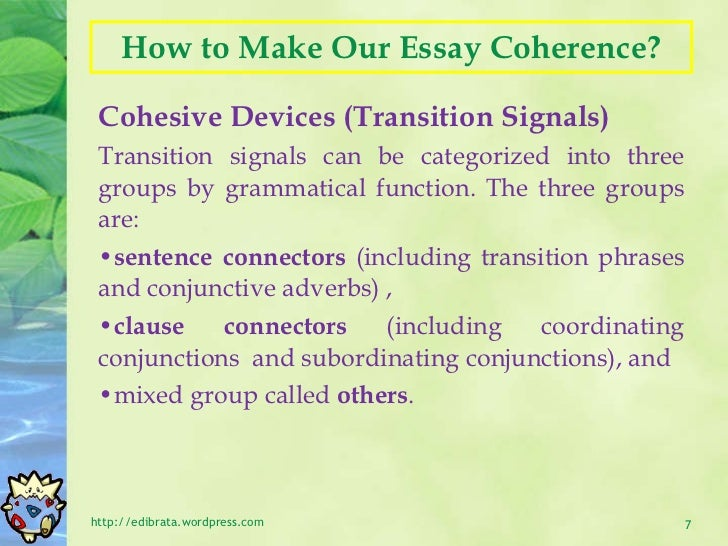 essay unity and coherence For advice on achieving unity in a composition (along with some opposing views on the value of unity), see the observations below coherence cohesion.