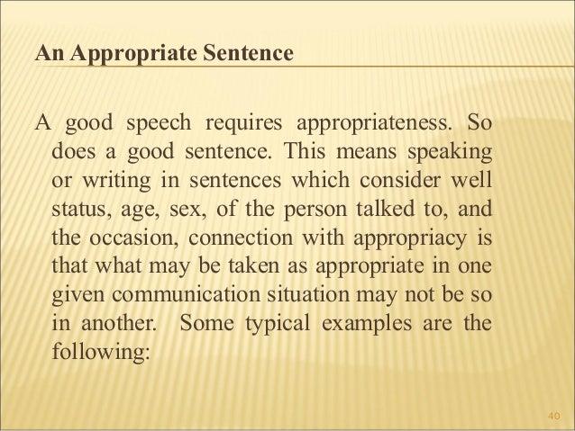 writing in the discipline boa 39 40 an appropriate sentence a good speech
