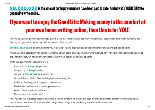 writing online jobs fom home earn per day live support