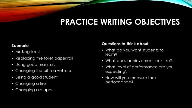 learning objectives for essay writing Grammar learning objectives goal one: students will  skills involved in  writing sentences and  academic essays and personal journals.