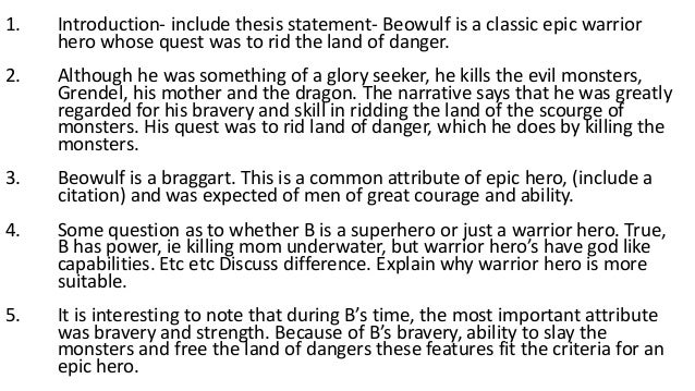 thesis statement of beowulf