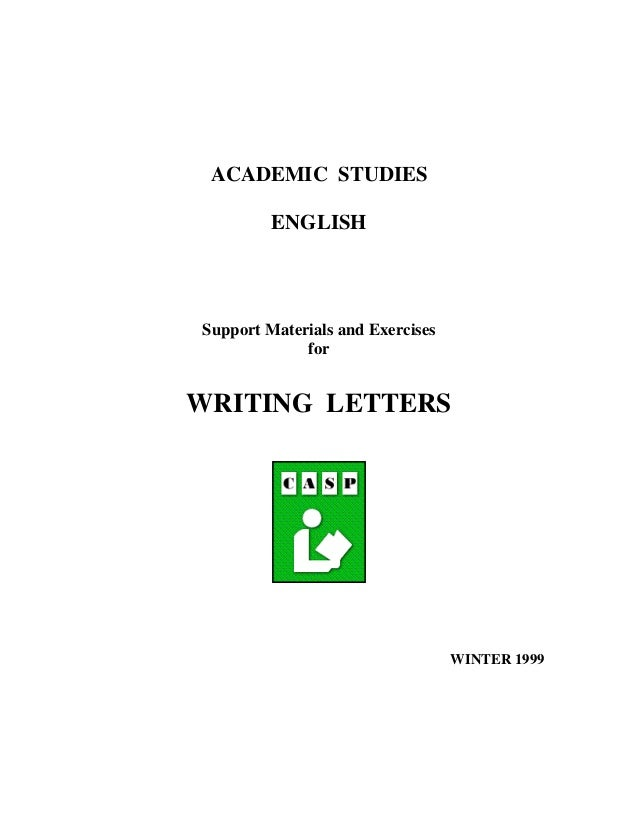 academic studies english support materials and exercises for writing letters winter 1999