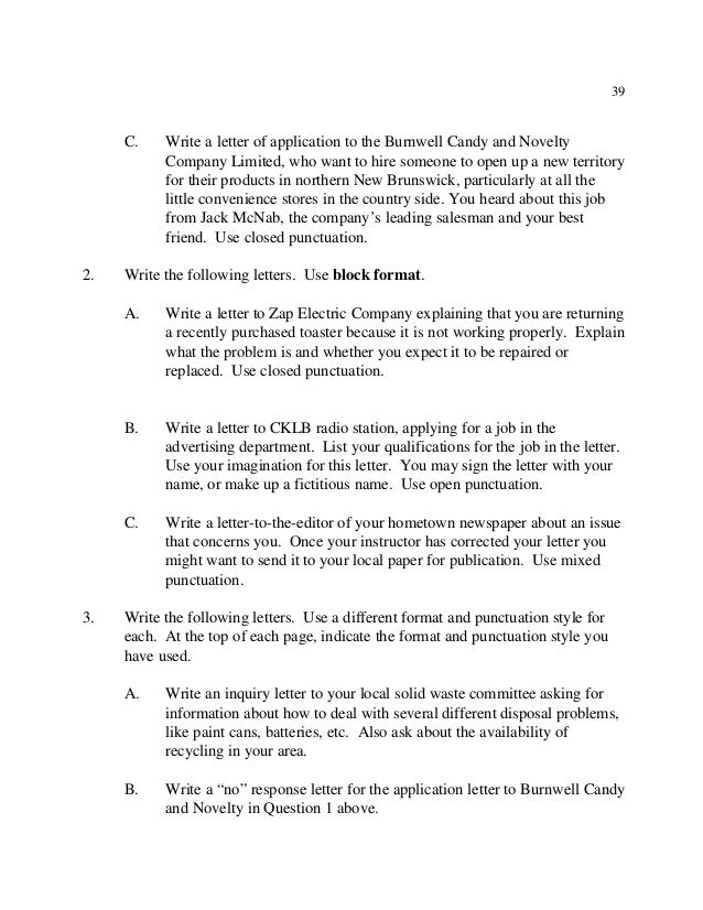 45 39 c write a letter - How To Write A Letter In Essay Format