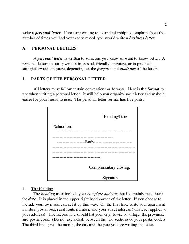 conventions in writing a business letter