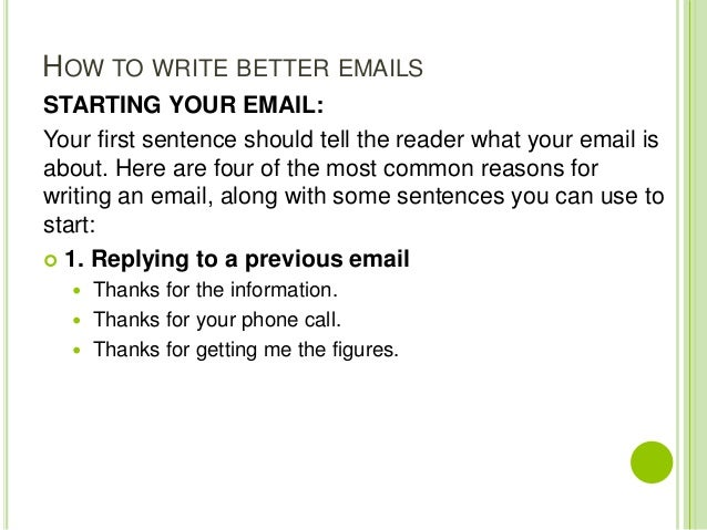 Writing letters and emails 14 how to write better emails starting your email your first sentence m4hsunfo
