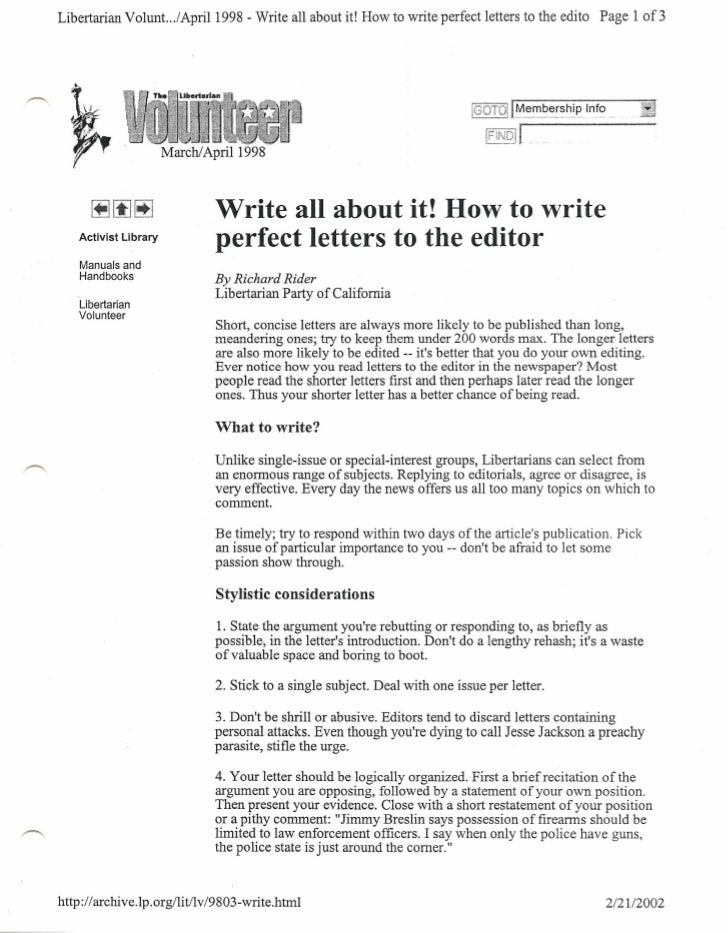 Libertarian Volunt. ../April 1998 - Write all about it! How to write perfect letters to the edito Page 1 of 3             ...