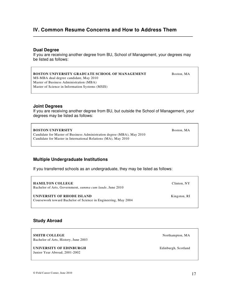 feld career center june 2010 16 18 - Resume For Science Graduates