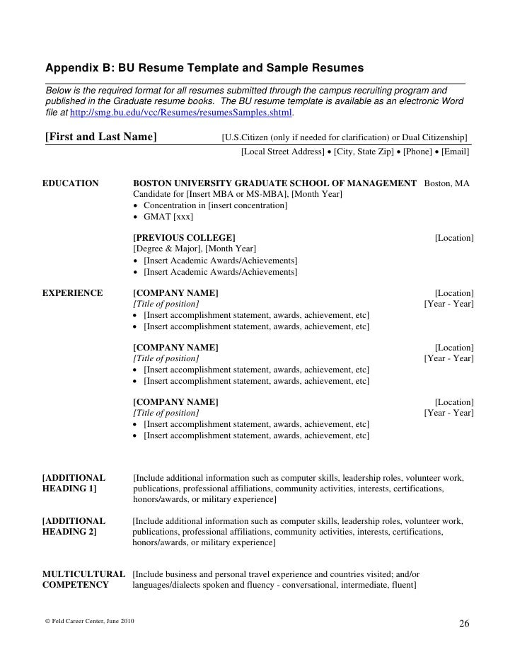 June 2010 25 27 Appendix B Bu Resume Template   Writing Resume Samples