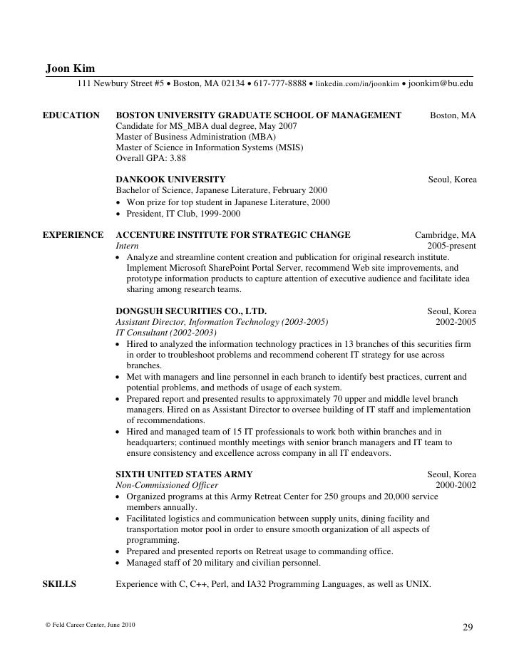 writing mba resumes feld career center 2010 28 30