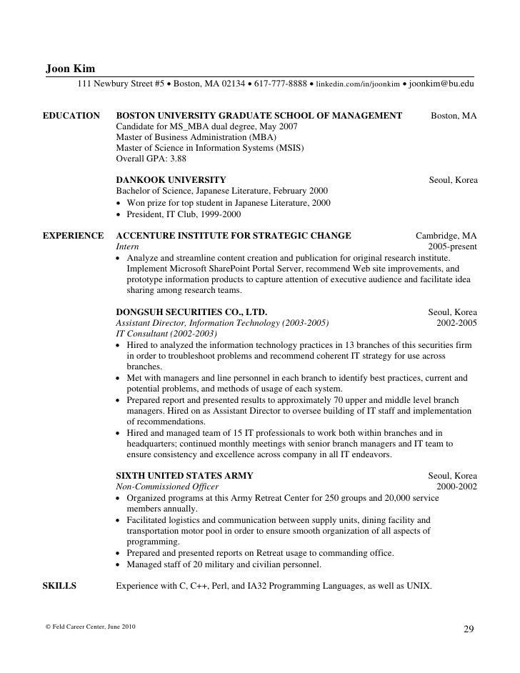 Nice Feld Career Center, June 2010 28; 30.  Resume Degree