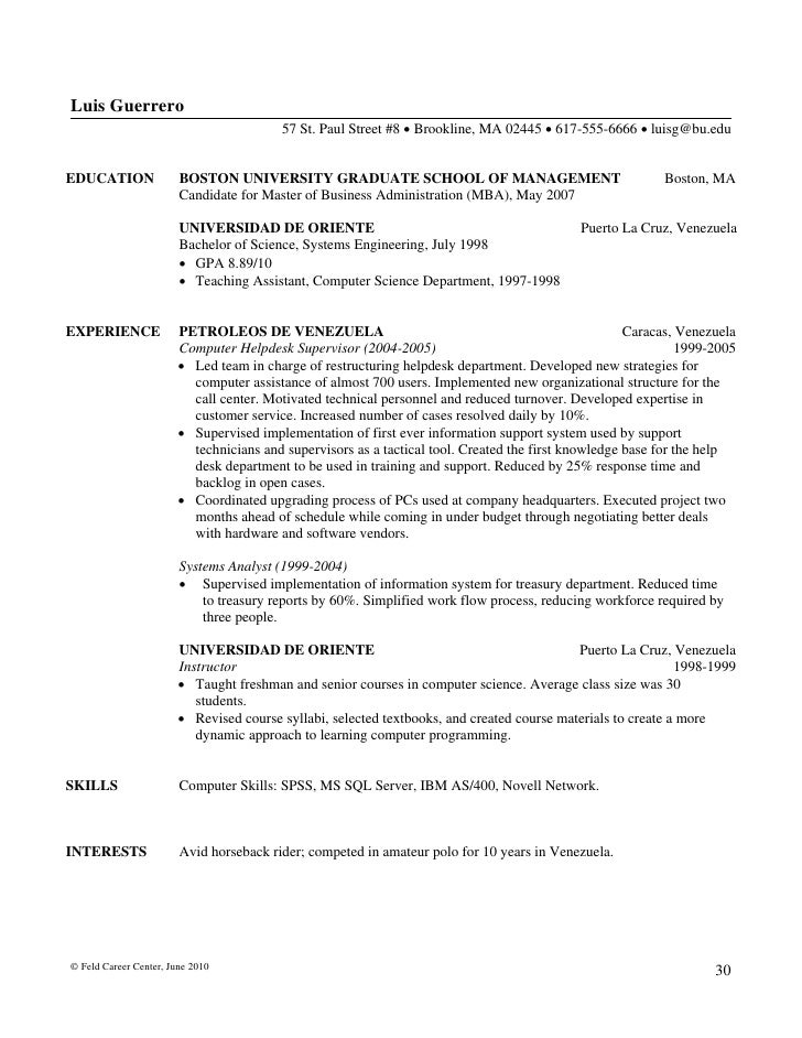 Feld Career Center, June 2010 29; 31.  Writing Resume