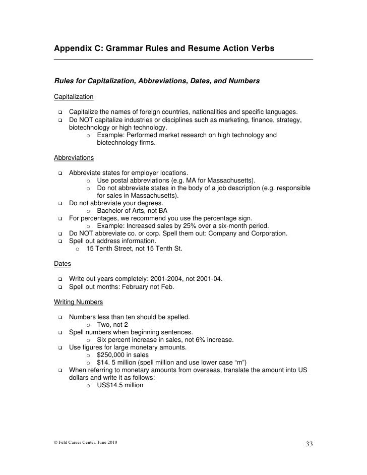 june 2010 32 34 appendix c grammar rules and resume