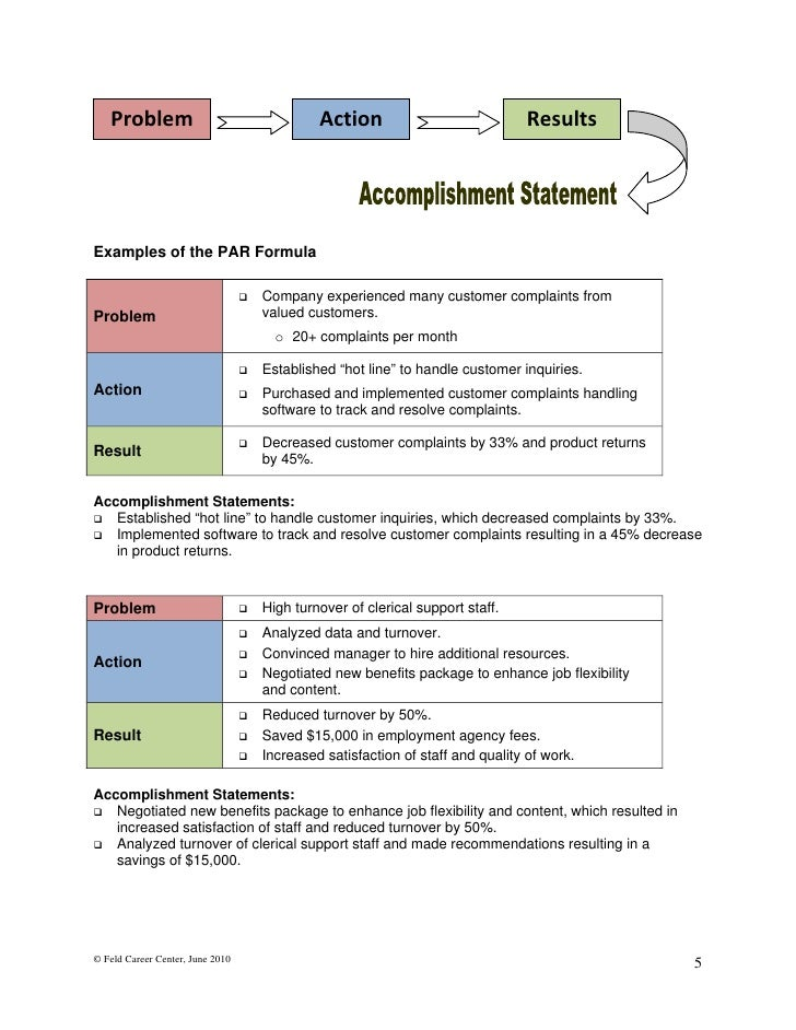 statements for resumes
