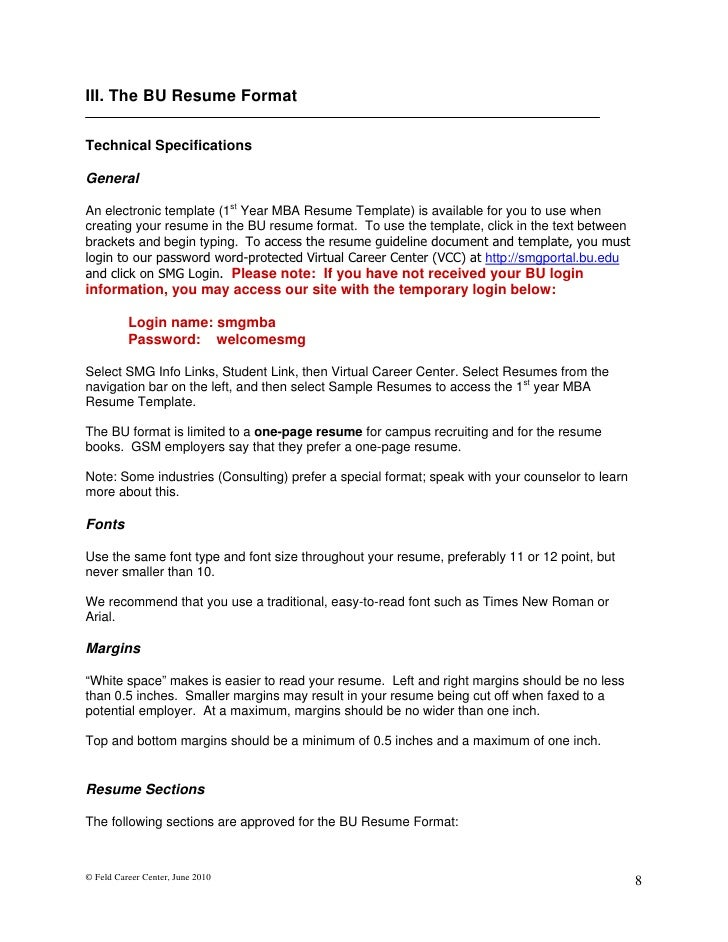 feld career center june 2010 7 9 iii the bu resume formattechnical specificationsgeneralan electronic template 1st year mba