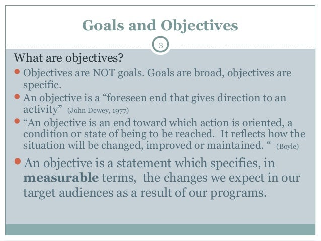 goals and objectives examples