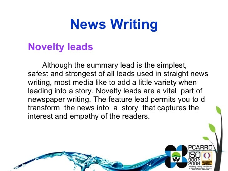 Writing news stories (august 18, 2011)