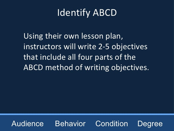 how to write abcd model for writing objectives