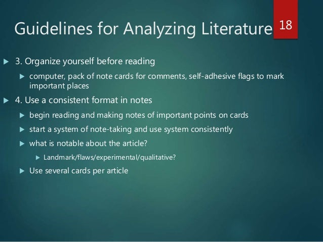 guidelines for reading and analyzing literature Use the following guidelines for teaching how to write an interpretive essay or how to write a literary analysis: the introduction must introduce the literary work, capture the reader's attention, and include a clearly written thesis statement that contains the literary interpretation the body of the essay must support the thesis statement through evidence--facts, examples, summaries--and.