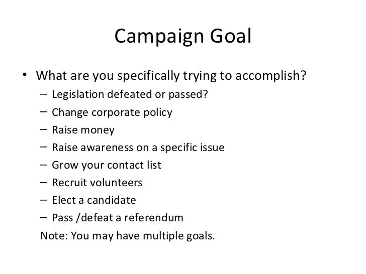 Writing online campaign plans