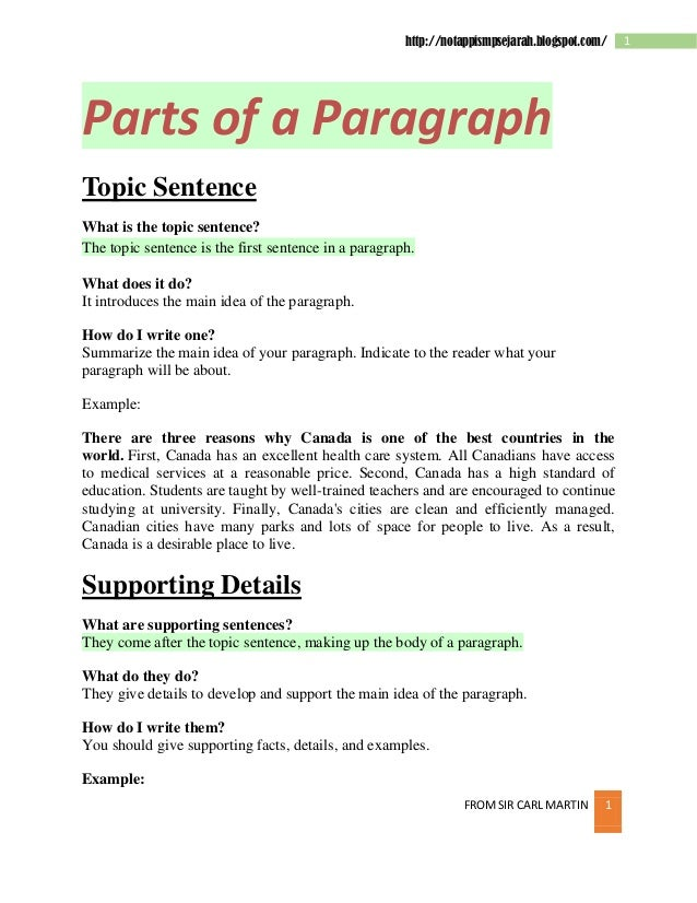 http://notappismpsejarah.blogspot.com/  Parts of a Paragraph Topic Sentence What is the topic sentence? The topic sentence...