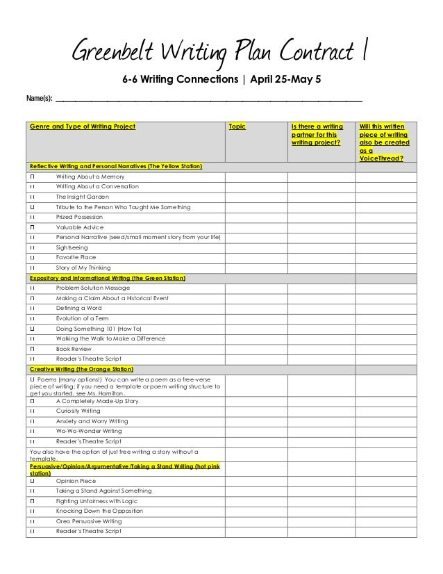Greenbelt Writing Plan Contract 1 6-6 Writing Connections | April 25-May 5 Name(s): ______________________________________...