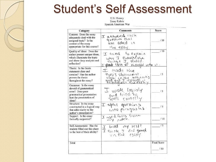 Student's Self Assessment<br />