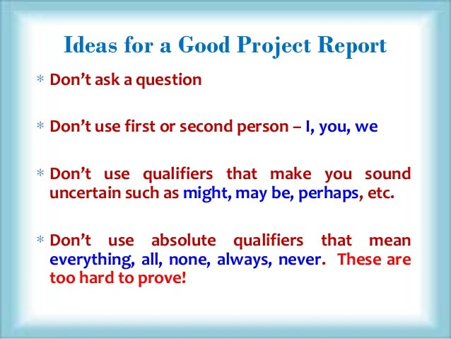 How To Write A Project Report?