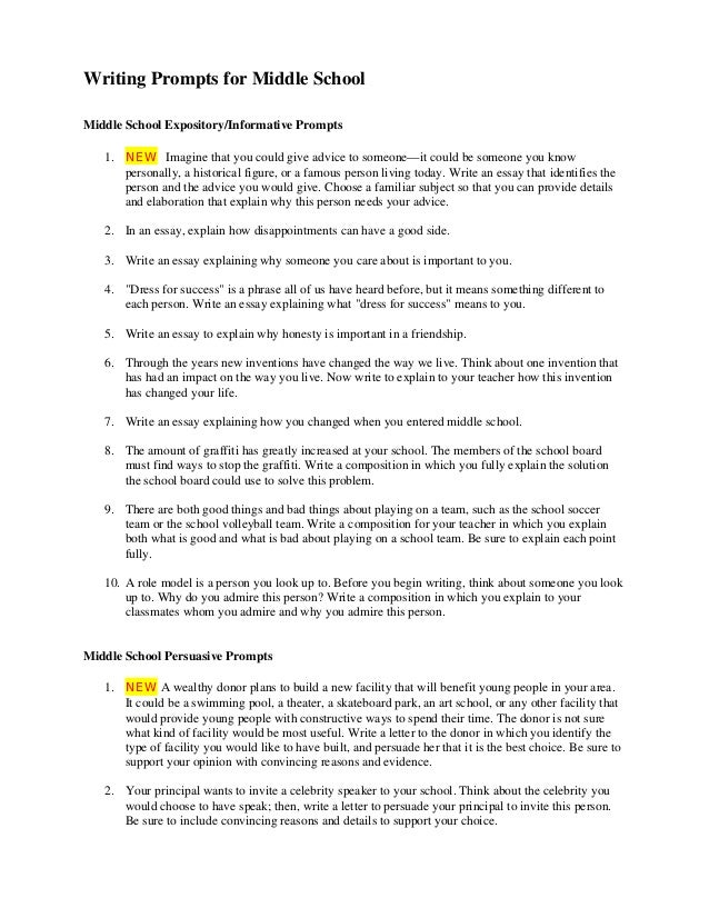 writing prompts writing prompts for middle school middle school expository informative prompts 1