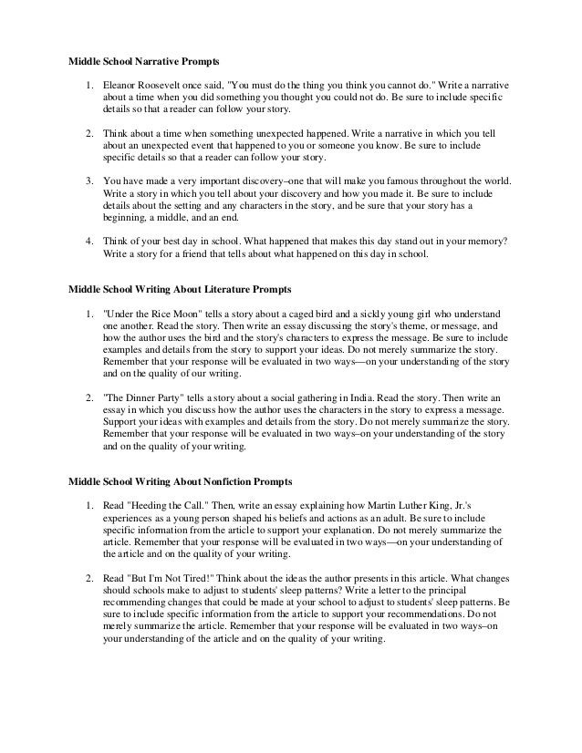 middle school writing essay prompts The raven essay bookstore lawrence ks an essay about respect healthy life responsibility writing essays high school essay about culture and arts us free essay about education rural areas essay about reading and writing zealand, the persuasive essay sample ielts simon.